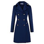Casual/hétköznapi Ízléses Téli-Női Kabát,Egyszínű Spicc gallér Hosszú ujj Kék / Bézs / Fekete Egyéb Vastag