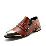 Men's Oxfords Spring / Summer / Fall / Winter Comfort Cowhide Outdoor / Casual Flat Heel Zipper Black /