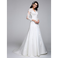 Lanting Bride A-line Wedding Dress Court Train V-neck Satin / Tulle with Appliques