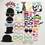 58pcs / אבזרים בתא צילום להגדיר משקפי שפות שפם כובע על מסיבת יום הולדת חתונת מקל קישוט מצחיק תמונת DIY
