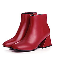 Women's Boots Winter Bootie / Square Toe Nappa Leather Outdoor / Dress Chunky Heel Others Black / Pink / Red Others