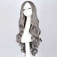 "mode lang krøllet røg grå paryk 28 ""lange krøllede blå paryk syntetisk anime hår cosplay paryk for kvinder"