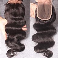 8''-24'' Noir Tissée Main Ondulation naturelle Cheveux humains Fermeture Brun roux Dentelle Suisse 35-45g gramme Moyenne Cap Taille