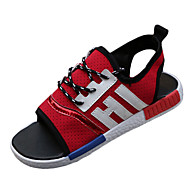 Women's Shoes Fabric Spring / Summer / Fall Comfort Sandals Casual Flat Heel Split Joint /Black / Blue / Red / Walking