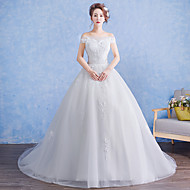 Ball Gown Wedding Dress Court Train Off-the-shoulder Tulle with Appliques / Lace