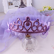 Flower Girl's Fabric Headpiece-Wedding / Casual Tiaras 1 Piece Purple / Blue / Pink Round 34cm