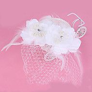 Women's Feather / Tulle / Fabric Headpiece-Wedding / Special Occasion Fascinators 1 Piece Clear Round 24cm
