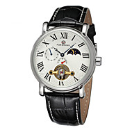 FORSINING® Men's Roman Number Moon Phase Decor Leather Band Automatic Self Wind Dress Watch Cool Watch Unique Watch Fashion Watch