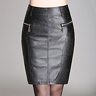 Women's Solid Black Skirts,Sexy  Simple Above Knee Plus Size