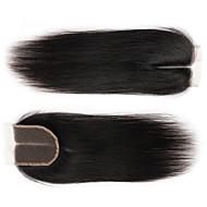 8''-24'' ブラック ハンドタイ ストレート 人毛 閉鎖 ミディアムブラウン スイスレース 35-45g グラム 標準 キャップサイズ