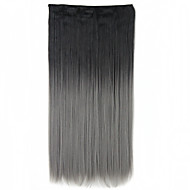 """1pc 5clips קליפ צבע רמפת שיפוע תוספות שיער נכרי סינטטי פורס 60 סנטימטרי 24inch ישר-אפור שחור ה""""אומבר"""""""
