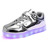 Girl's Sneakers Spring Fall Comfort Patent Leather Athletic Flat Heel Magic Tape Purple Silver Gold
