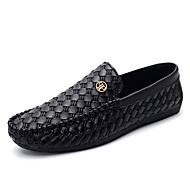 Men's Flats Spring Fall Comfort Leather Casual Flat Heel Ruched Others Split Joint Black Gold Walking