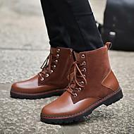 Bootsit-Matala korko-Miehet-Tekonahka PU-Musta Ruskea-Ulkoilu Rento-Maihinnousukengät