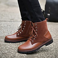 Herre-Kunstlær PU-Lav hæl-Combatstøvler-Støvler-Friluft Fritid-Svart Brun