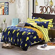 Cactus Print Bedlinen Fleece winter bedding set queen king size soft bedsheet pillowcase Duvet cover 4pcs bed set
