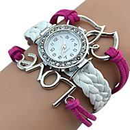 Popular Designed Girl's Faux Leather Love Heart Double Heart Bracelet Watch relogio feminino