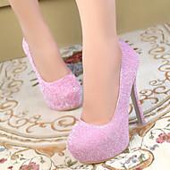 Women's Heels Spring / Fall Heels / Round Toe PU Dress Stiletto Heel Sequin Pink / Silver Others