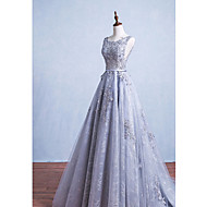 Formal Evening Dress A-line Scoop Floor-length Lace with Sash / Ribbon
