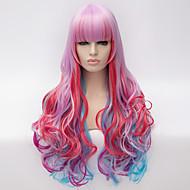 빛 purple.cosplay 가발 바람 로리타 로리타 멀티 컬러 그라데이션 가발 매일 합성 가발