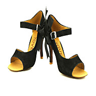 Customizable Women's Dance Shoes Latin/Salsa Flocking Customized Heel Black/Yellow
