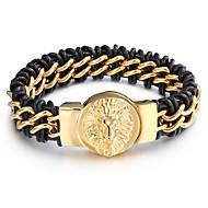 Pánské Kožené náramky Nerez Kožené Přizpůsobeno Animal Shape Zlatá Šperky 1ks