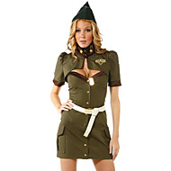 Women's Army Green Loaded American Police Pilot Costume Party Dress