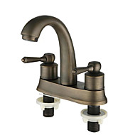 Antique Deck Mounted Thermostatic with  Ceramic Valve Two Handles Two Holes Antique Copper Bathroom Sink Faucet