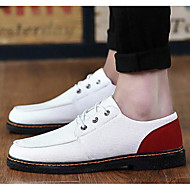 Men's Oxfords Spring Fall Canvas Outdoor Flat Heel Lace-up Black Blue White Others