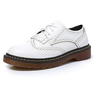 נשים-נעלי אוקספורד-דמוי עור-נוחות / מעוגל / סגור-שחור / צהוב / לבן-קז'ואל-עקב שטוח