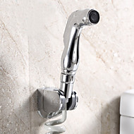 Contemporary Wall Mounted Pullout Spray with  Brass Valve Two Handles One Hole for  Chrome  Bidet Faucet