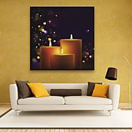 E-HOME® Stretched LED Canvas Print Art The Candle Christmas Series LED Flashing Optical Fiber Print One Pcs