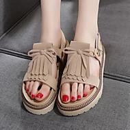 נשים-סנדלים-עור-נעלי בובה (מרי ג'יין)-שחור / חום / חאקי-שטח-עקב שטוח