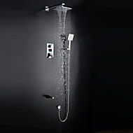 Contemporary Shower System Waterfall Rain Shower Widespread  Handshower Included with  Ceramic Valve Two Handles  Chrome