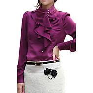 Camicia Da donna Ufficio Sensuale / Punk & Gotico Per tutte le stagioni,Tinta unita Colletto alla coreana Rayon / PoliestereBianco /