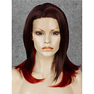 IMSTYLE 14New Arrival Burgundy Red Ombre Natural Straight Synthetic Lace Front Wig