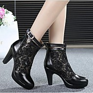 Women's Boots Spring Summer Leather Outdoor Chunky Heel Crystal Zipper Black Others