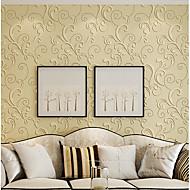 Damast Blumen Streifen Art Deco 3D Tapete Für Privatanwender Zeitgenössisch Wandverkleidung , Vliesstoff Stoff Klebstoff erforderlich