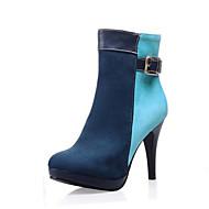 Feminino-Botas-Arrendondado / Botas da Moda-Salto Agulha-Preto / Azul / Vermelho / Verde Escuro / Laranja-Veludo-Social / Casual