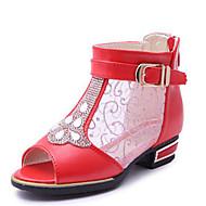 Para Meninas-Sandálias-Chanel-Salto Baixo-Preto / Rosa / Vermelho / Branco-Courino-Casual