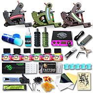 3 x tetovací strojek pro linky a stínování z litiny LCD napájení10 x tetovací jehla RL 3 / 10 x tetovací jehla RL 5 / 10 x tetovací jehla