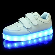 LED Light Up Shoes, Girl's  Shoes Sneakers Comfort / Flats Party / Athletic / Casual Flat Heel Magic Tape / Black / White