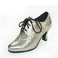 באביב / סתיו נעלי נשים סגור עור בוהן חסון חיצוני / מזדמן עקב שרוכים אחר שחור / כסף / אפור