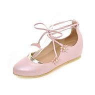 נשים-שטוחות-דמוי עור-נעלי בובה (מרי ג'יין)-ורוד / לבן-שמלה / קז'ואל-עקב שטוח