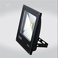 50w 따뜻한 / 차가운 백색 검정 초박형 IP65 야외가 투광 조명 전구를 주도 (AC85-265V)
