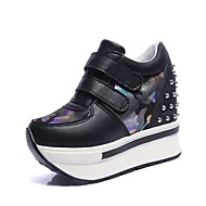 Women's Sneakers Summer / Fall Wedges Synthetic Casual Wedge Heel Split Joint Black / Pink / White Others