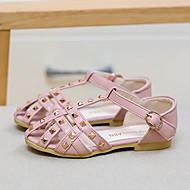 女の子 サンダル レザーレット 夏 カジュアル リベット フラットヒール ベージュ ピンク フラット