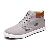 Herre-Lerret-Flat hæl-Komfort-Treningssko-Friluft Fritid Sport-Svart Blå Hvit Grå