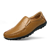 Men's Loafers & Slip-Ons Spring / Fall Comfort Cowhide Casual  Slip-on Black / Blue / Brown / Yellow / Khaki Sneaker