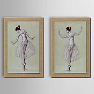 Maalattu Abstrakti / Ihmiset / Fantasy öljymaalauksia,Moderni / Perinteinen / European Style 2 paneeli Kanvas Hang-Painted öljymaalausFor